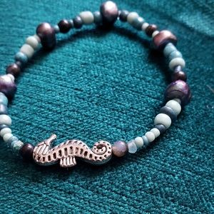 Seahorse Bracelet with Black Pearls & Black Opals